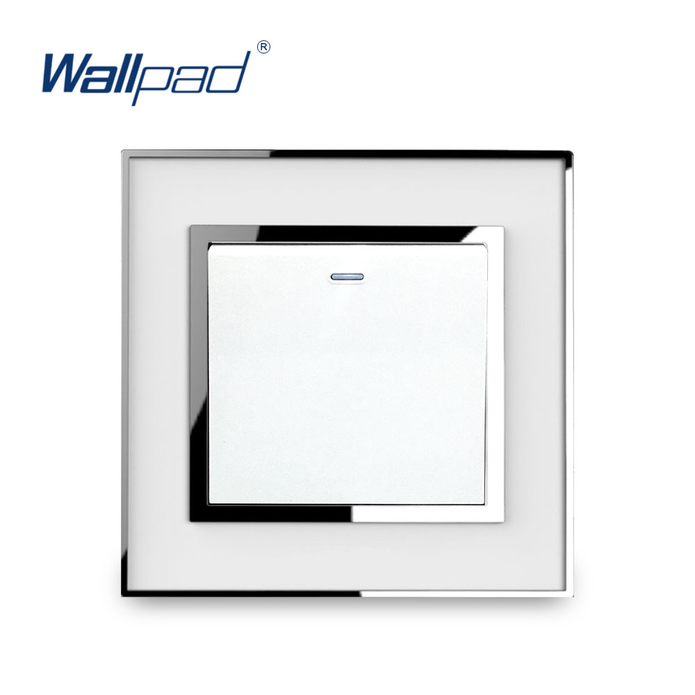 Light Switch 1 Gang 1 Way New Arrival Luxury Acrylic Panel With Silver Border Wallpad Push Button Wall Switch 16A AC110-250V 1 gang 2 way light switch and lamp pull switch ac110 250v wall switch 220v push button switch with led ndicator