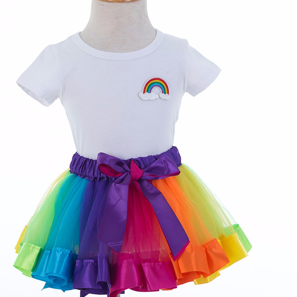 SUMMER children sets  tutu skirt + cotton baby girl shirt Rainbow skirt cute toddler kids baby girls suit set tops denim 2pcs skirt set 2016 wholesale baby girls cartoon short sleeve tops lace cute tutu skirt for 0 4y baby girl