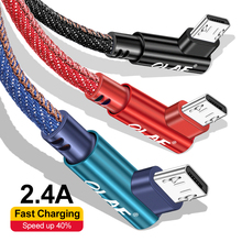 OLAF Micro USB Cable 90 Degree Nylon Fast Charge USB Data Cable for Samsung Xiao