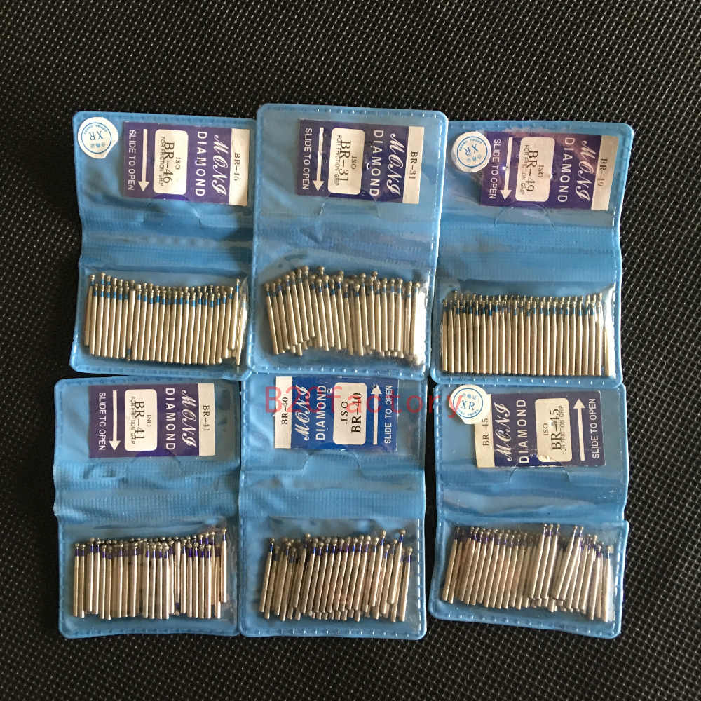 50pcs/bag BR series Ball Round Dental Diamond Drill Dental Burs Dia-burs for High Speed Dental Handpiece