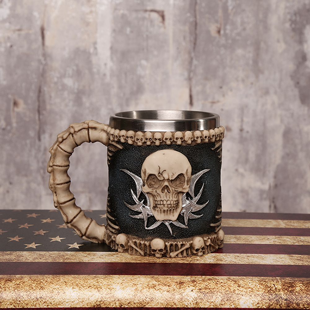 Personalized Skull mug Double Wall Coffee cup Creative Stainless Steel Knight Tankard Dragon Drinking Tea Cup Christmas gift