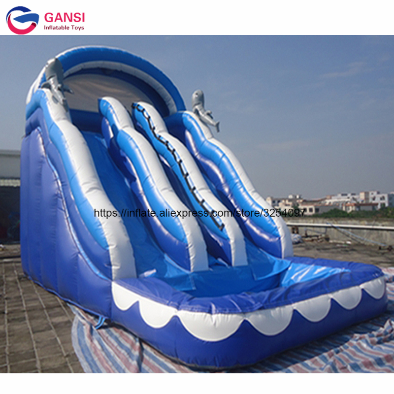Amusement park water game 8*4.5*5.2m inflatable blow up slide for rental,factory direct selling Inflatable slide with pool children shark blue inflatable water slide with blower for pool