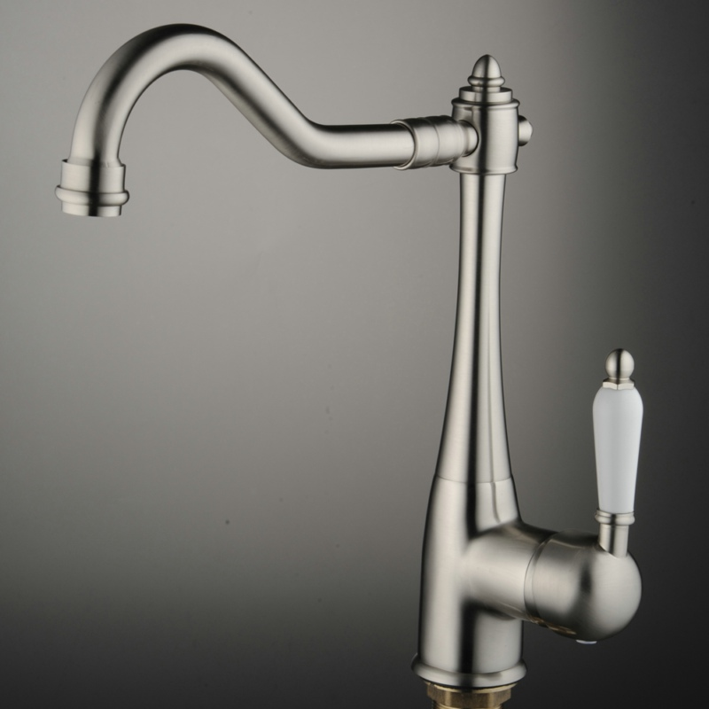 free shipping brushed nickel kitchen faucet hot and cold water brass sink mixer taps deck mounted CODE-8054  free shipping white paint kitchen faucet with solid brass kitchen sink faucet and hot cold kitchen sink water mixer taps