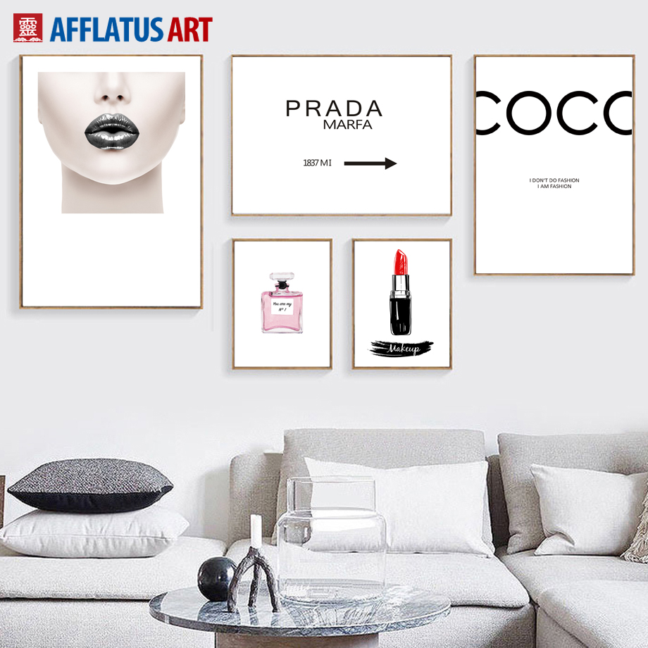 AFFLATUS Coco Girl Lipstick Prada Nordic Posters And Prints Wall Art Canvas Painting Pop Art Wall Pictures For Living Room Decor