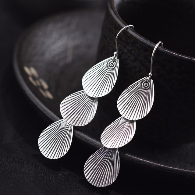 Chiangmain Thai Silver Ethnic 925 Sterling Drop Earrings For Women Indonesian Style