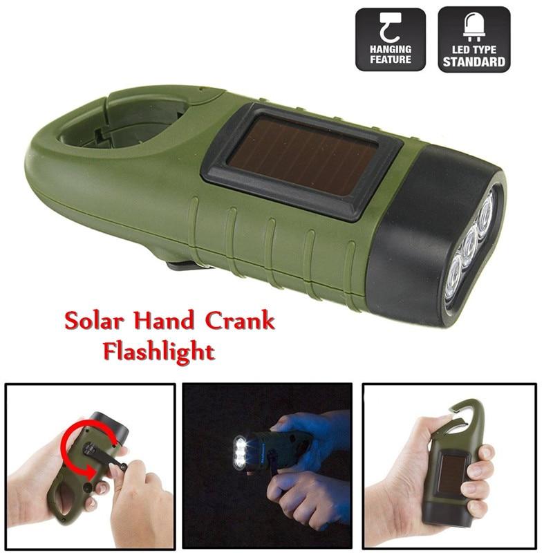 Newest Mini Solar Powered Hand Crank 3 LED Flashlight Lamp Rechargeable Emergency Light AAA Led Bulbs Portable Light Outdoors