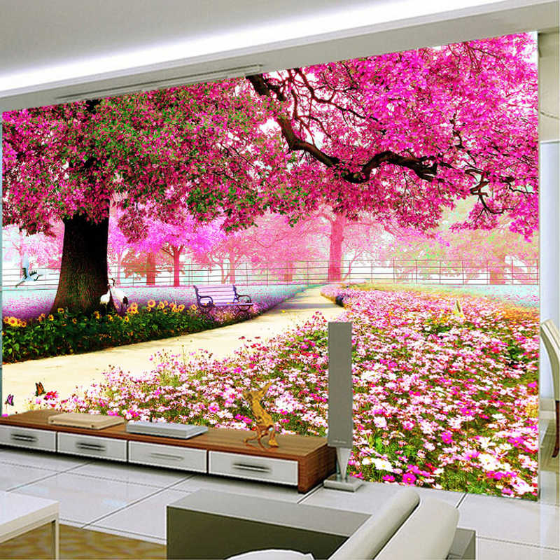 Custom Photo Wallpaper Mural TV Background Wall Bedroom Living Room Pink Cherry Tree Garden 3D Wallpaper Mural