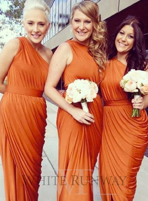 2017 Charming One Shoulder Designer Orange Bridesmaid Dress Chiffon Long Pleats Sheath Floor Length Prom Dresses