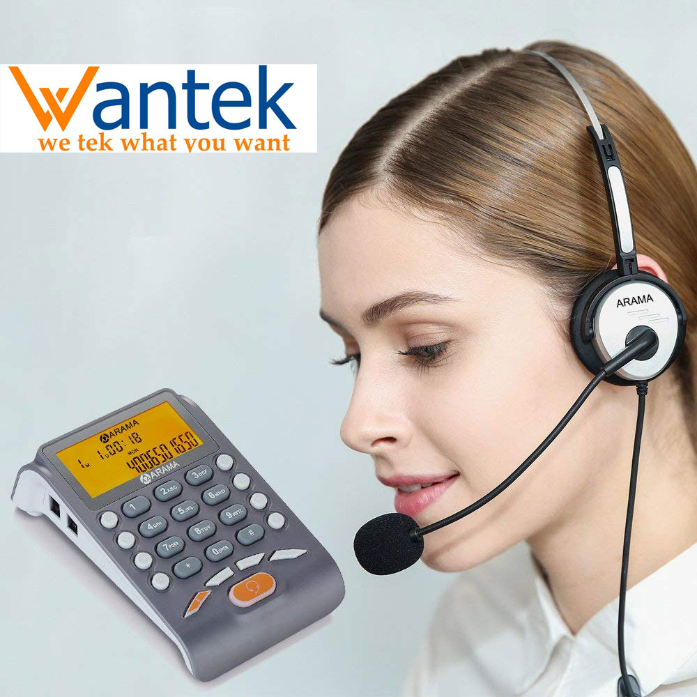 Wantek ARAMA Headset Telephone with Noise Cancelling Headset Landline Caller ID Phone Fully Functional Dialpad Desktop Telephone|Earphone Accessories| |  - title=