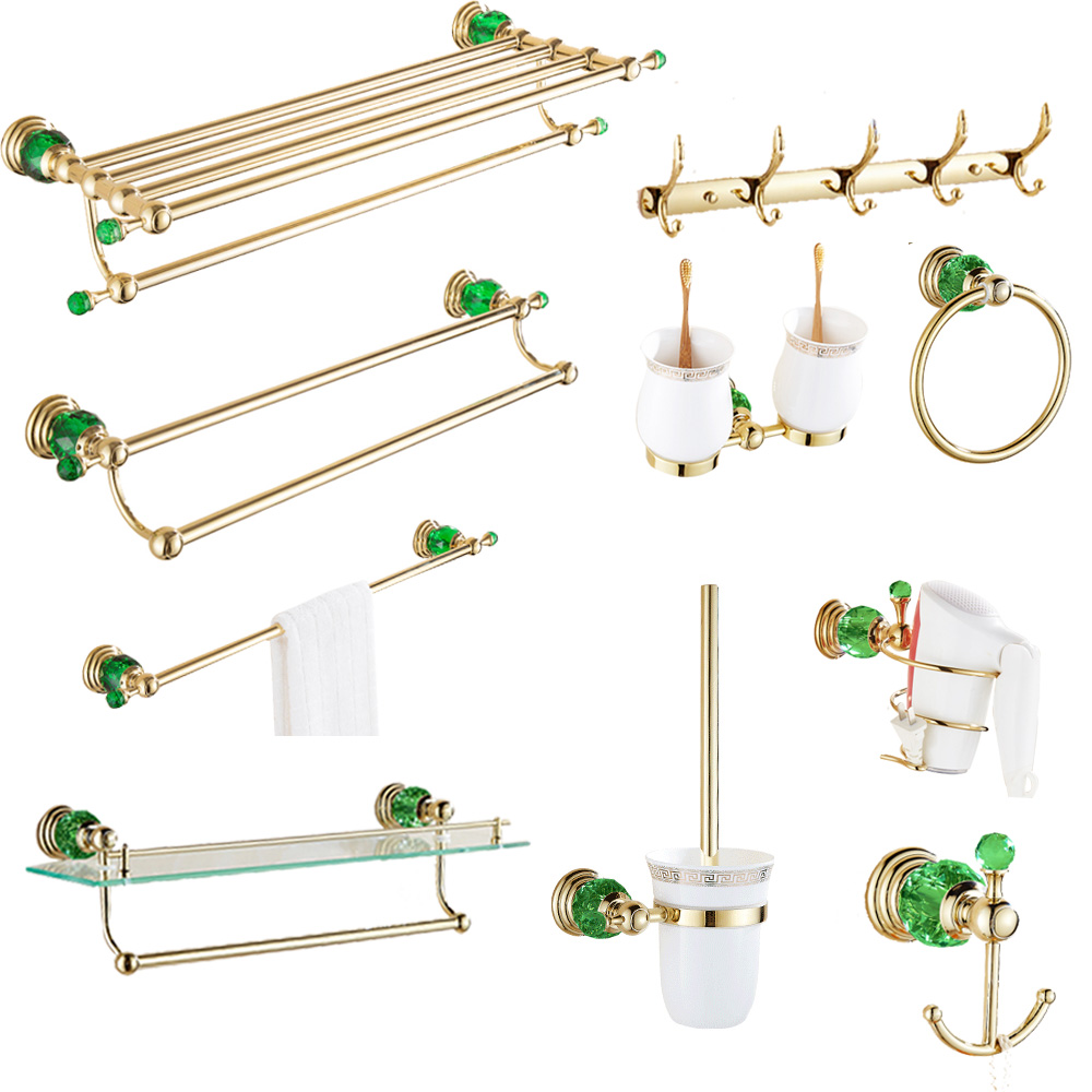 All brass bathroom set gold green crystal row hook double tooth cup European style paper towel basket Bathroom Accessories Sets     - title=