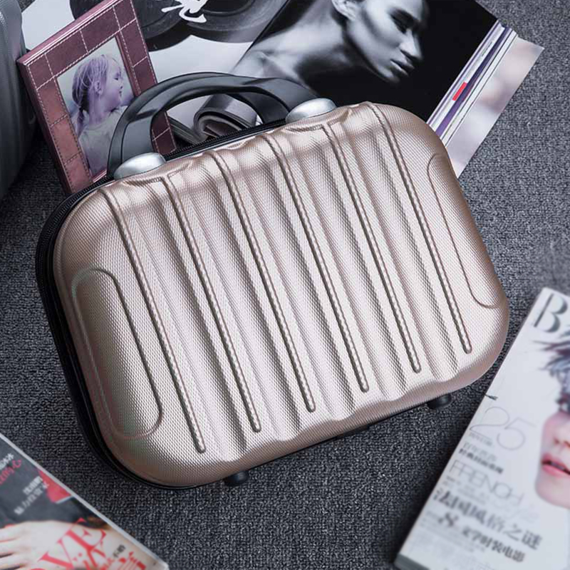 Small Hardside Suitcase Travel Weekend Clothes Beauty Makeup Toiletry Storage Tote Box Luggage Case Organizer Accessories