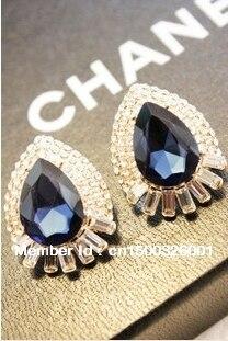 Korean-style drop-type flash diamond gemstone ladies wind temperament nightclub bling earrings wholesale
