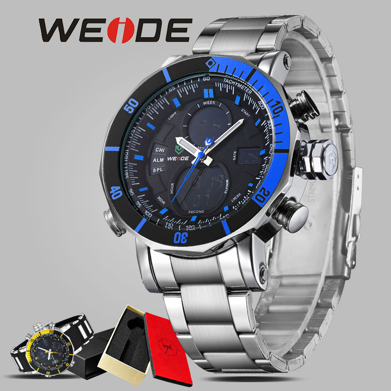 WEIDE men watch quartz contracted watch stainless steel date sport in digital watches led round Big dial luxury  fashion casual weide brand irregular man sport watches water resistance quartz analog digital display stainless steel running watches for men