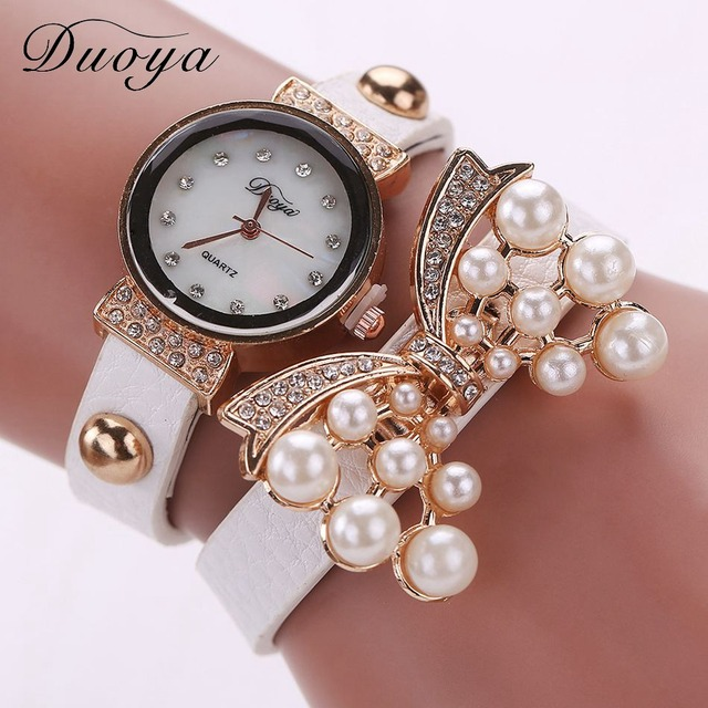 Fashion Butterfly Design Fashion Pearl Bracelet Watch Women Luxury Rhinestone Wa