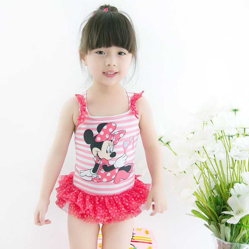 Retail Girl Minnie mouse Bikini One-Piece Swimsuit  for children beach wear bathing suit summer UPF 50+ for 6-7 Year RT91 simba пупс minnie mouse