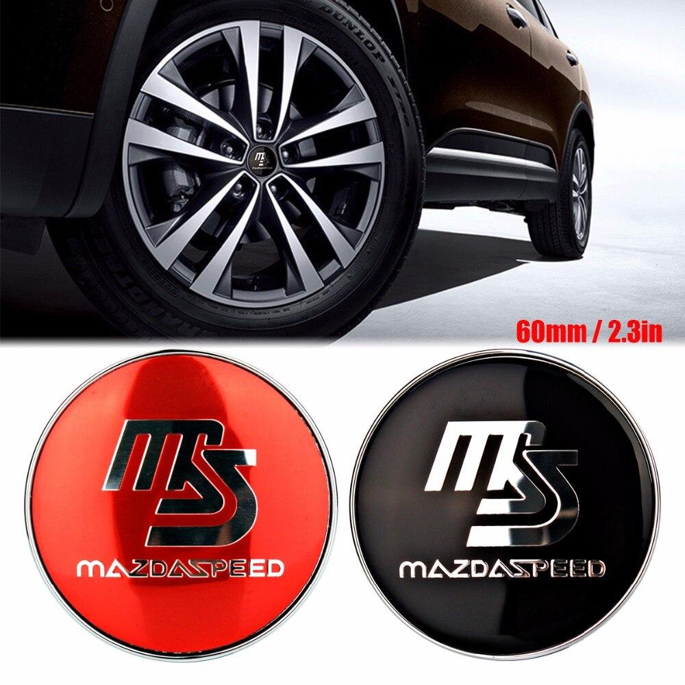 4pcs 60mm ms speed car wheel center hub cap badge emblem car accessories 3d sticker decal for mazda 2 3 5 6 cx7 cx9 car styling