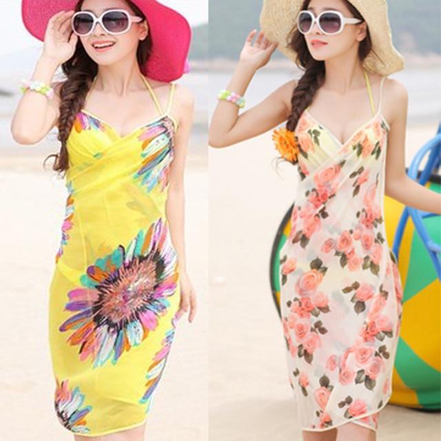 94b3a95b99 Summer Dress Sunscreen Bikinis Beach Towel Scarf Dress Beach Wear Dress  Spaghetti Strapless Women Dress Female Vacation Wear
