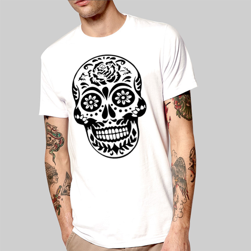 TOP Girls Men Skull T Shirts Cool New Flower Skull Head T Shirts ...