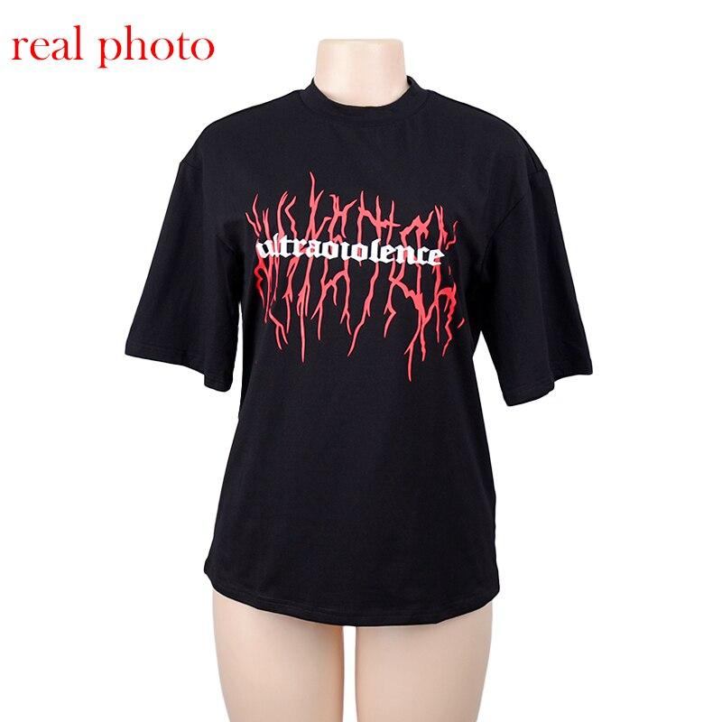 c3af31a01 Goth negro oscuro suelto Grunge estampado camisetas gótico Harajuku ...