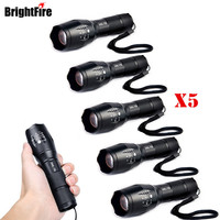 Wholesale 5 Pcs Ultra Bright 5 Mode XML T6 Zoomable Led Flashlight Waterproof Torch Lights