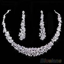 Свадебное пром ювелирные изделия кристалл горного хрусталя стразами ожерелье и серьги комплект C7DP