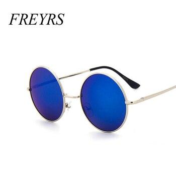 b5972c576f FREYRS nuevo diseñador de marca clásico gafas de sol redondas hombres  pequeños Vintage Retro John Lennon gafas mujeres conducción Metal gafas 129
