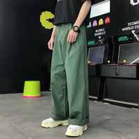 Wide Leg Opening Loose Style Pants Men 2018 New Front Pleated Men's Pants Full Length Man Trousers Green Khaki Cotton