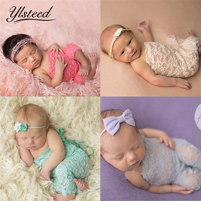 Fashion newborn lace floral romper baby bowknot rompers jumpsuit newborn photo props baby shoot props infant