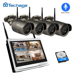 "Image 1 - Techage 4CH 1080P نظام كاميرا أمان لاسلكية 12 ""LCD NVR 2MP الأشعة تحت الحمراء في الهواء الطلق مقاوم للماء CCTV واي فاي كاميرا مراقبة فيديو مجموعة"