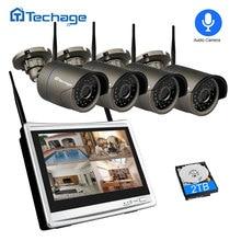 "Techage 4CH 1080P kablosuz güvenlik kamera sistemi 12 ""LCD NVR 2MP IR açık su geçirmez CCTV Wifi kamera Video gözetleme seti"