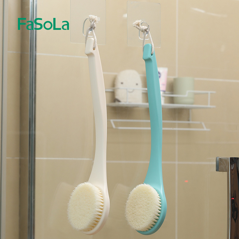 FaSoLa Long-Handle Bath Brush with Soft Hair Body Care Back-Massage Brush Rub Back Brush White Green
