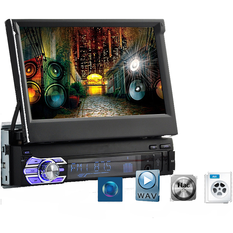 Car Radio 7 Inch HD Touch Screen Telescopic MP5 MP4 Car Player Autoradio Bluetooth AUX Stereo