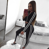 Womens TrackSuit With Hood Black Long Sleeve Crop Top And Legging Pants 2 Piece Set 2018
