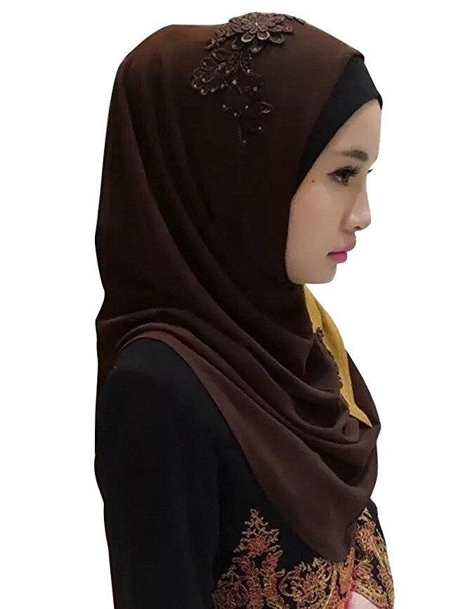Хлопковый хиджаб шарф, кружевной вышитый сшивание дизайн женский хиджаб платок на голову длинные шали обертывания Джерси мусульманский шарф - Цвет: Color 7
