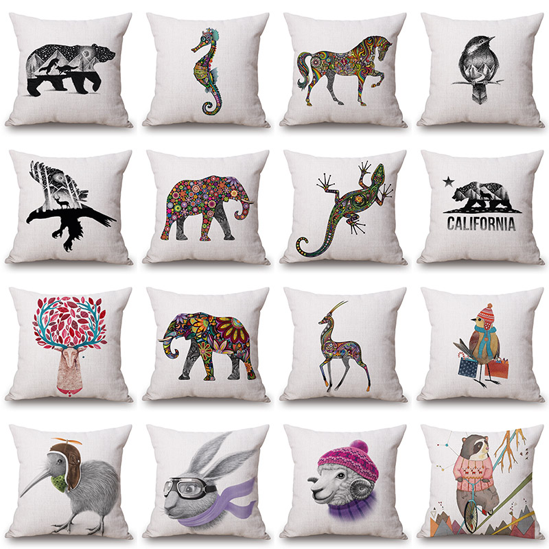 Elephant Sea Horse Bird Eagle Bear Printed Cushion Cover Decorative Pillowcase Use For Home Sofa Car Office Almofadas Cojines