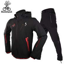 Men Cycling Sets Camping Hiking Ski Outdoor Riding Bicycle Jackets Pants Waterproof Windproof Thicken Fleece Size S-3XL