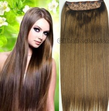 #6  light  brwon  Full Head 1 piece  full head set  Brazilian Virgin remy human hair extensions clips in/on 26 colors available