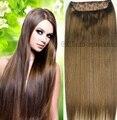 #6 luz brwon Cabeza Completa 1 unidades set completo de la cabeza remy Virginal brasileño extensiones de cabello humano clips en/sobre 26 colores disponible