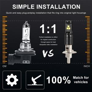 Image 4 - 2 pçs auto lâmpadas led para carros led luzes de nevoeiro para carro h1 80w led luz de nevoeiro lâmpada de condução do carro drl 6500k branco alta potência