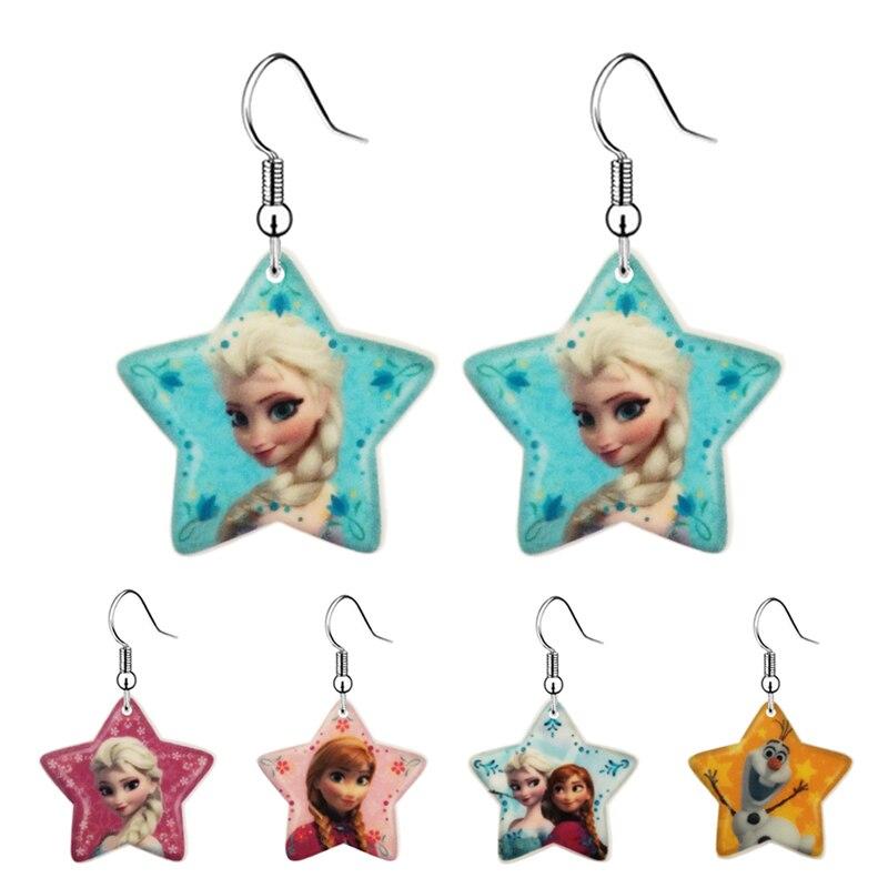 Fashion Cartoon Princess Anna Elsa Flatback Resin Drop Earrings for Little Girls Kawaii Acrylic Childrens Jewelry Earrings 0603