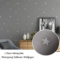 Modern Star Pattern Self Adhesive Wall Paper For Kids Room Gray Pink Bedroom Wall Paper Home Decor