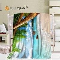 Tamaño personalizado grandes playas mar sol nubes océano paraíso tropical árbol Mantas para camas fleece cálido invierno durmiendo sofá manta