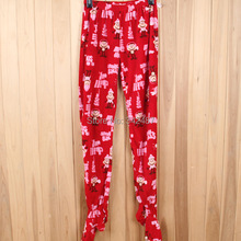 Winter woman footed sleep bottoms Home Furnishing pants fleece home footed pants