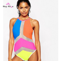 New 2016 Swimsuit One Pieces Candy Patchwork Sexy Perspective Monokini High Quality Push Up One Piece