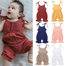 Cute Baby Girl Ruffle Solid Color Linen Romper Jumpsuit Outfits Sunsuit for Newborn Infant Children Clothes Kid Clothing cute bunny ears tail rabbit baby girls boys hooded hoodie romper jumpsuit outfits for newborn infant children cloth kid clothing