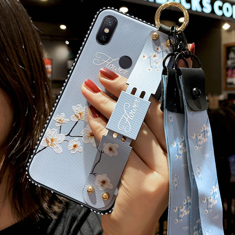 Wrist Strap Case For Xiaomi Redmi A1 A2 MAX2 3 8 8SE 9 9SE Note 3 4 4X 5 5A 6 6A 7 Plus Pro Lite Vintage Flower CoverWithLanyard in Rhinestone Cases from Cellphones Telecommunications