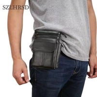 SZLHRSD Cell Phone Case Genuine Leather Zipper Pouch Belt Clip Waist Purse Cases Cover For Doogee