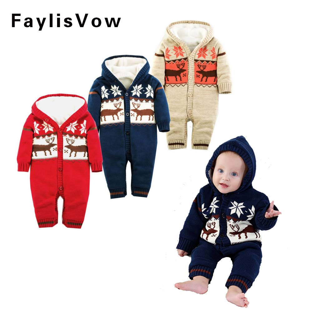 Warm Thick Winter Knitted Sweater Baby Rompers Coral Fleece Newborn Boys Girls Jumpsuits SnowSuit Infant Hooded Outwear thick coral fleece pu toilet warm pad mat blue