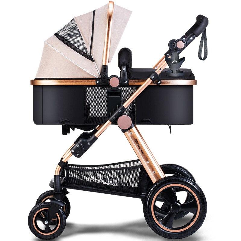 High Landscape Baby Stroller Can Sit And Lie 2-in-1 Trolley can Foldable Umbrella Carts Big Rear Wheel Tomahawk Wheel stroller baibos bai twin landscape baby stroller double front and rear can lie sit