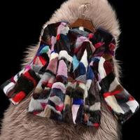 Patchwork Mixed Colors Mink Fur Coat Real Fur Coat Women Natural Mink Fur Jacket Female Festival Real Price Fur sr621